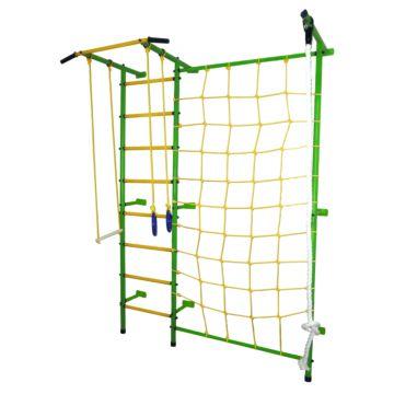 Детский спортивный комплекс Лидер С-02 с сеткой (зелено-желтый)