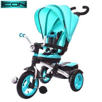 """Трехколесный велосипед RT Icon 6 Luxe Aluminium с надувными колесами 11"""" и 10"""" (голубой)"""