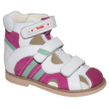 Сандалеты ортопедические Twiki с закрытым носком (бело-розовые, 21-25)