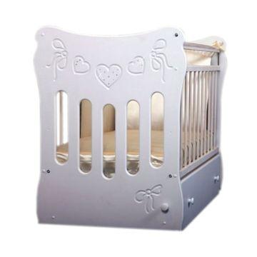 Кроватка детская Островок Уюта Бантики (поперечный маятник) (белый)