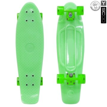 "Мини-круизер Y-Scoo Fish Skateboard Glow 27"" со светящейся платформой и сумкой (green)"