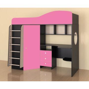 Кровать-чердак Ярофф Кадет 1 с металлической лестницей (венге темный/розовый)