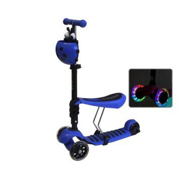 Самокат Ecoline Lotus с сиденьем и светящимися колесами (синий)