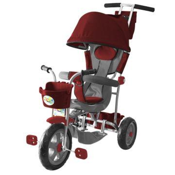 """Трехколесный велосипед Galaxy Лучик с ПВХ-колесами 10"""" и 8"""" с капюшоном (бордовый)"""