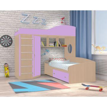 Кровать двухъярусная Ярофф Кадет 2 с металлической лестницей (дуб молочный/ирис)