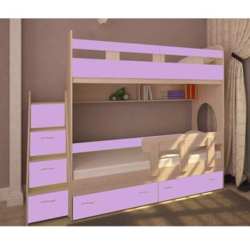 Кровать двухъярусная Ярофф Юниор-1 (дуб молочный/ирис)