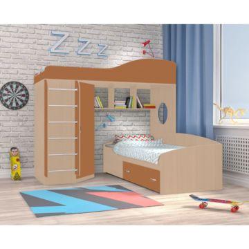 Кровать двухъярусная Ярофф Кадет 2 с металлической лестницей (дуб молочный/вишня оксфорд)