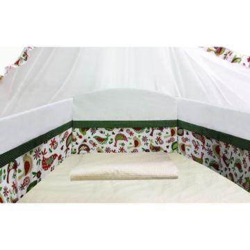 Бампер для кроватки Polini Кантри со съёмным чехлом (3 части, хлопок/полиэстер) (Зелёный)