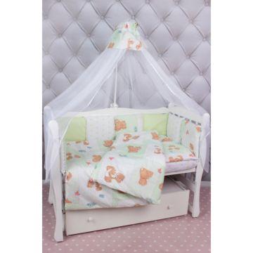 Комплект постельного белья AmaroBaby Мишка (18 предметов, бязь) (зеленый)