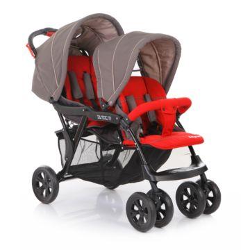 Коляска прогулочная для двойни Baby Care Tandem (серый/красный)
