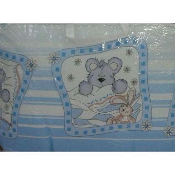 Комплект постельного белья Happy Dreams Зайки в ромашках 120х60см (7 предметов, хлопок) (голубой)