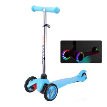 Самокат 21st Scooter Mini Up Flash со светящимися колесами и регулировкой руля (голубой)