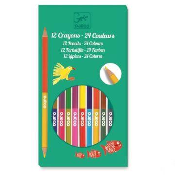 Набор карандашей Djeco двусторонних (12 штук)