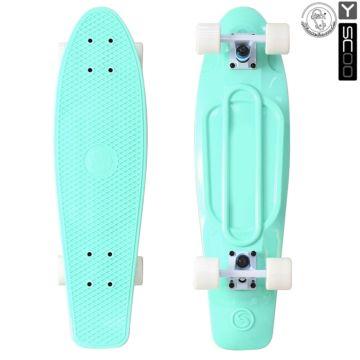 "Мини-круизер Y-Scoo Fish Skateboard 27"" с сумкой (бело-голубой)"