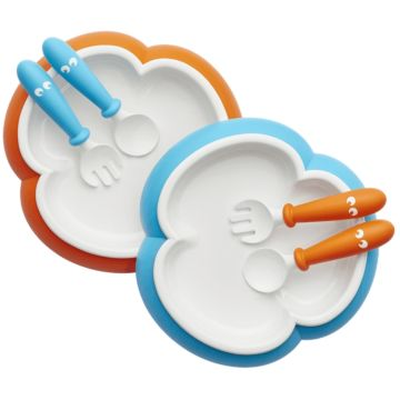 Набор посуды Babybjorn Baby Plate, Spoon and Fork (orange/turquoise)