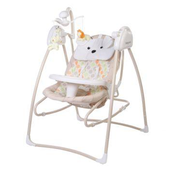 Электрокачели Baby Care Butterfly с адаптером (2 в 1) (бежевый)