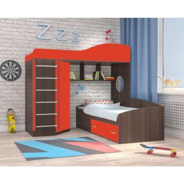 Кровать двухъярусная Ярофф Кадет 2 с металлической лестницей (бодего темный/красный)