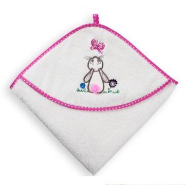 Полотенце с уголком Baby Care Зайка с бабочкой 80х80см