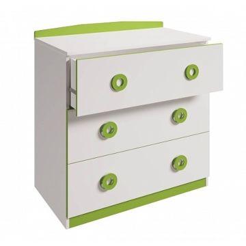 Детский комод Polini Simple 3090 (бело-зеленый)