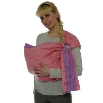 Слинг с кольцами Чудо-Чадо Лен Комби (S) (Розовый)