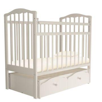 Кроватка детская Агат Золушка-7 (поперечный маятник) с ящиком (Слоновая кость)