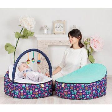 Кокон для новорожденных Feter Baby Bean Bag с игрушками (фиолетово-голубой)