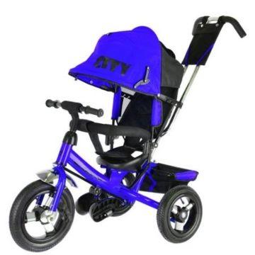 """Трехколесный велосипед City с надувными колесами 12"""" и 10"""" (синий)"""