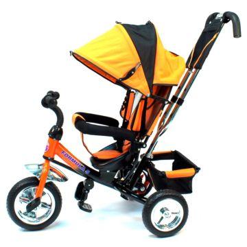 """Трехколесный велосипед Formula Trike F-3000 c ПВХ-колесами 10"""" и 8"""" (оранжевый)"""