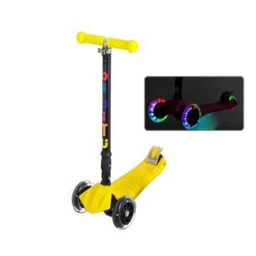 Самокат BiBiTu Play со светящимися колесами (Желтый)