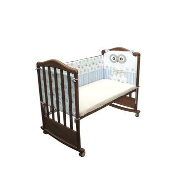 Бампер для кроватки Сонный Гномик Совушки (голубой)