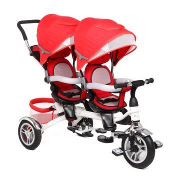 Трёхколёсный велосипед Capella Twin Trike 360 для двойни (Красный)