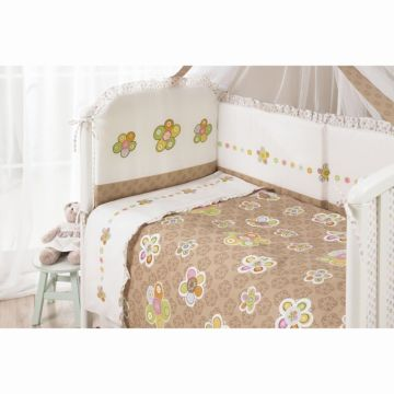 Комплект постельного белья Perina Тиффани Цветы (3 предмета, хлопок/сатин) (Кофе/Молочный)