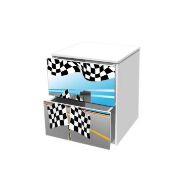 Тумба с ящиками Кроватка5 Гонка Голубая 2
