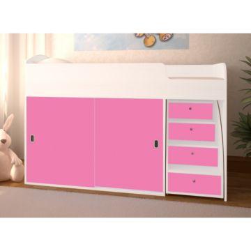 Кровать детская Ярофф Малыш Купе (белое дерево/розовый)