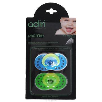 Пустышка Adiri Logo Pacifiers (от 0 мес., 2 шт.) blue and green