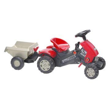 Трактор на педалях Coloma Turbo с прицепом (красный)