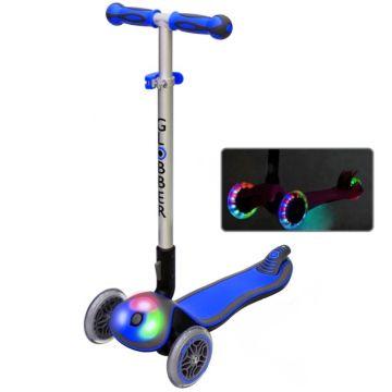 Самокат Globber Elite FL My free Fold up со светящейся платформой и светящимися колесами (Blue)