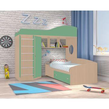 Кровать двухъярусная Ярофф Кадет 2 с металлической лестницей (дуб молочный/зеленый)
