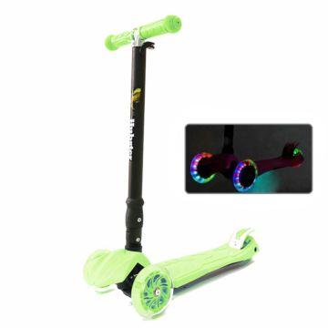 Самокат Hubster Maxi Plus Flash со светящимися колесами (зеленый)