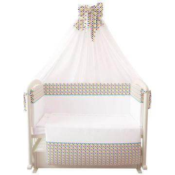 Комплект постельного белья Polini Конфетти 120х60см (7 предметов, хлопок, вуаль)