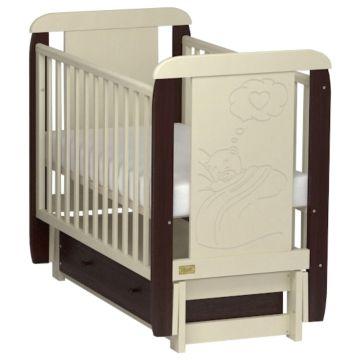 Кроватка детская Kitelli Amore (продольный маятник с ящиком) (Бежево-коричневый)