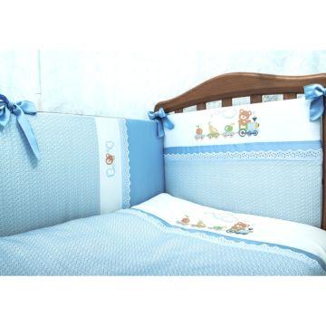 Комплект постельного белья Сонный Гномик Паровозик 120х60см (3 предмета) голубой