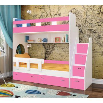 Кровать двухъярусная Ярофф Юниор-1 (белое дерево/розовый)