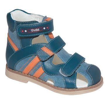 Сандалеты ортопедические Twiki с закрытым носком (сине-оранжевые, 21-25)