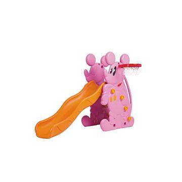 Горка детская QiaoQiao Toys Микки с баскетбольным кольцом (Розовый)