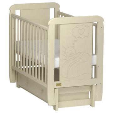 Кроватка детская Kitelli Amore (продольный маятник с ящиком) (Бежевый)