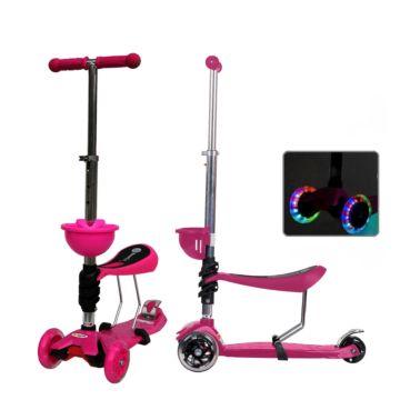 Самокат Babyhit ScooterOK Tolocar с сиденьем и светящимися колесами (розовый)