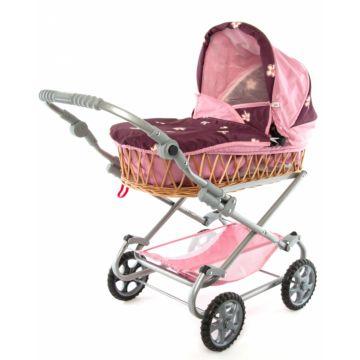 Коляска для куклы Wakart Моника (фиолетово-розовая)