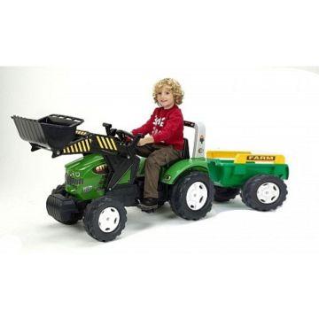 Трактор-экскаватор педальный Falk с прицепом и ковшом (зеленый)