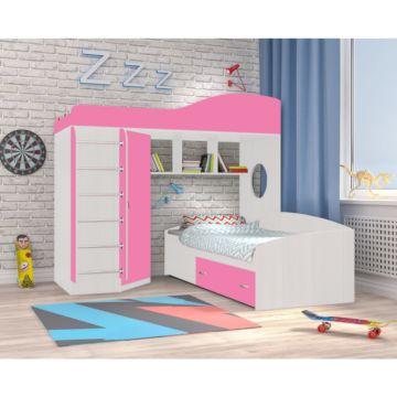 Кровать двухъярусная Ярофф Кадет 2 с металлической лестницей (белое дерево/розовый)
